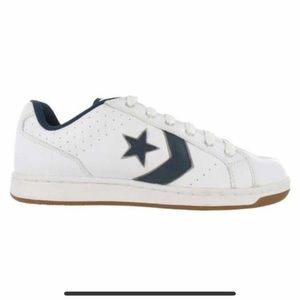 Converse leather white and navy blue one star.